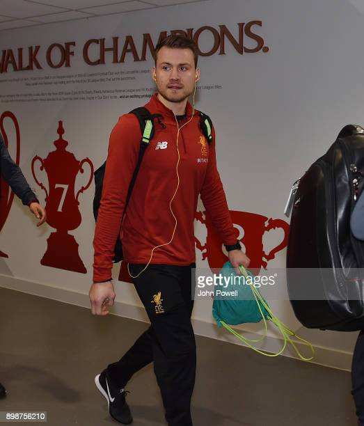 Simon Mignolet of Liverpool arrives before the Premier League match between Liverpool and Swansea City at Anfield on December 26 2017 in Liverpool...