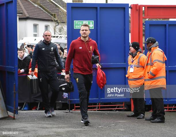 Simon Mignolet of Liverpool arrives before the Premier League match between Crystal Palace and Liverpool at Selhurst Park on March 31 2018 in London...
