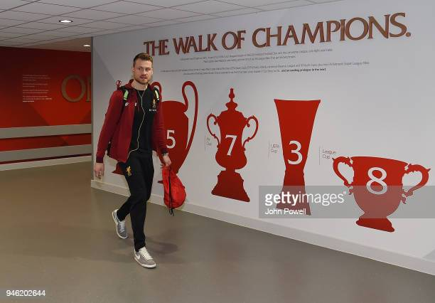 Simon Mignolet of Liverpool arrives before the Premier League match between Liverpool and AFC Bournemouth at Anfield on April 14 2018 in Liverpool...