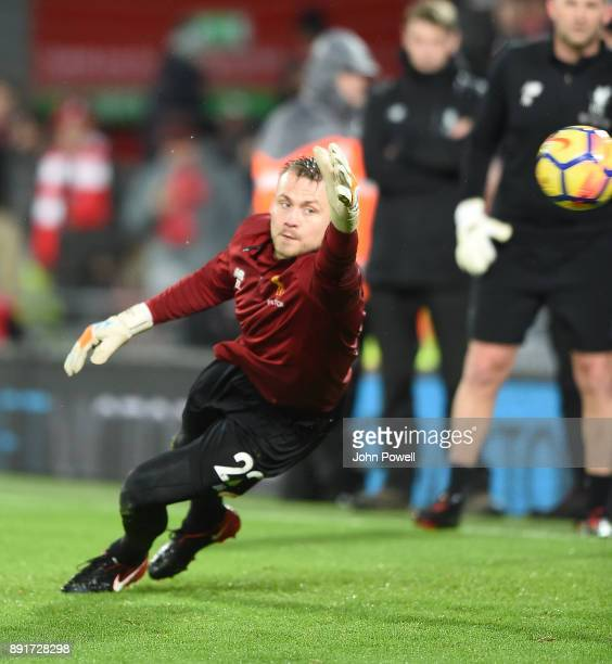 Simon Mignolet of Liverpool before the Premier League match between Liverpool and West Bromwich Albion at Anfield on December 13 2017 in Liverpool...