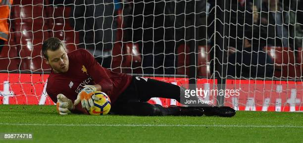 Simon Mignolet of Liverpool Before the Premier League match between Liverpool and Swansea City at Anfield on December 26 2017 in Liverpool England