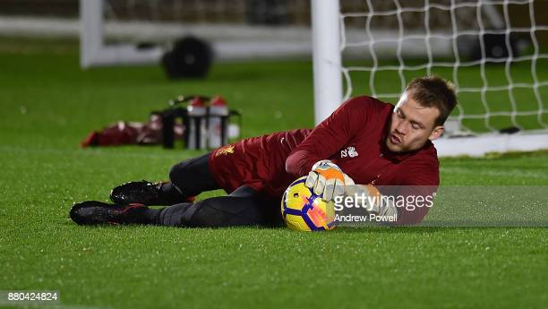 Simon Mignolet of Liverpool during a training at Melwood Training Ground on November 27 2017 in Liverpool England