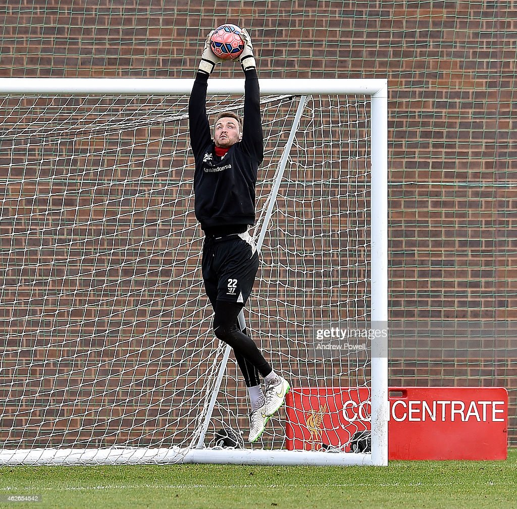 Simon Mignolet of Liverpool during a training session at Melwood Training Ground on February 2, 2015 in Liverpool, England.