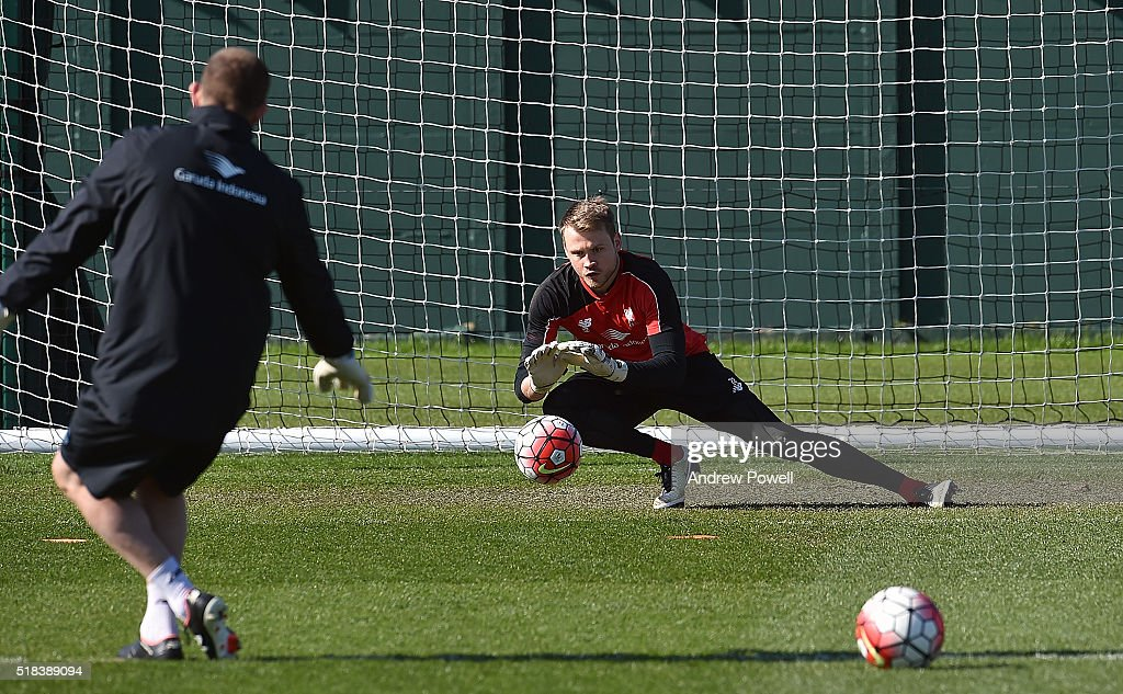 Simon Mignolet of Liverpool during a training session at Melwood Training Ground on March 31, 2016 in Liverpool, England.
