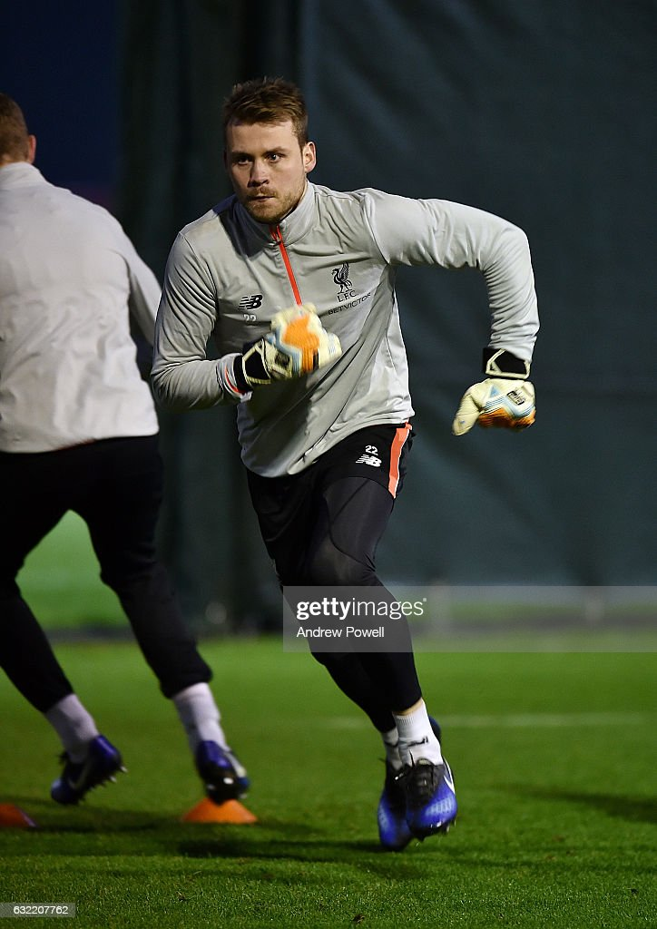 Simon Mignolet of Liverpool during a training session at Melwood Training Ground on January 20, 2017 in Liverpool, England.