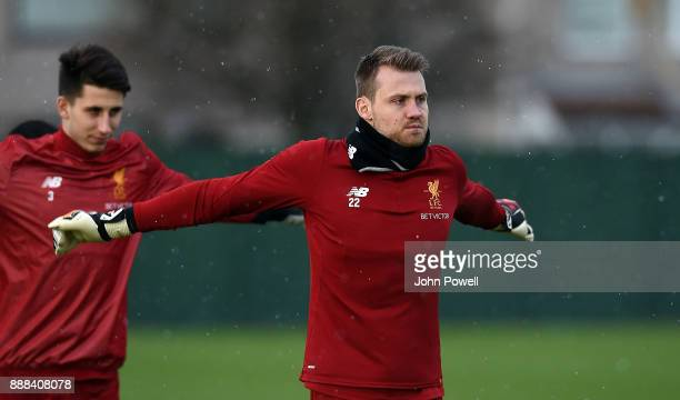 Simon Mignolet of Liverpool during a training session at Melwood Training Ground on December 8 2017 in Liverpool England