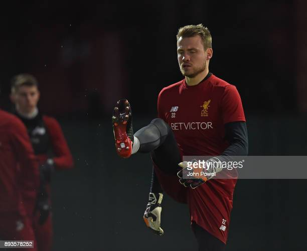 Simon Mignolet of Liverpool during a training session at Melwood Training Ground on December 15 2017 in Liverpool England