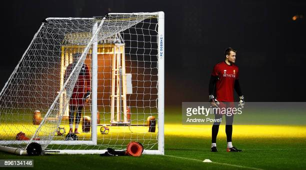 Simon Mignolet of Liverpool during a training session at Melwood Training Ground on December 20 2017 in Liverpool England