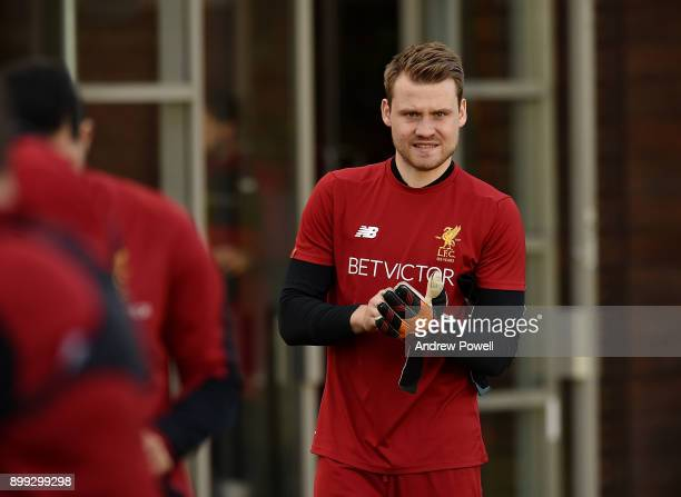 Simon Mignolet of Liverpool during a training session at Melwood Training Ground on December 28 2017 in Liverpool England
