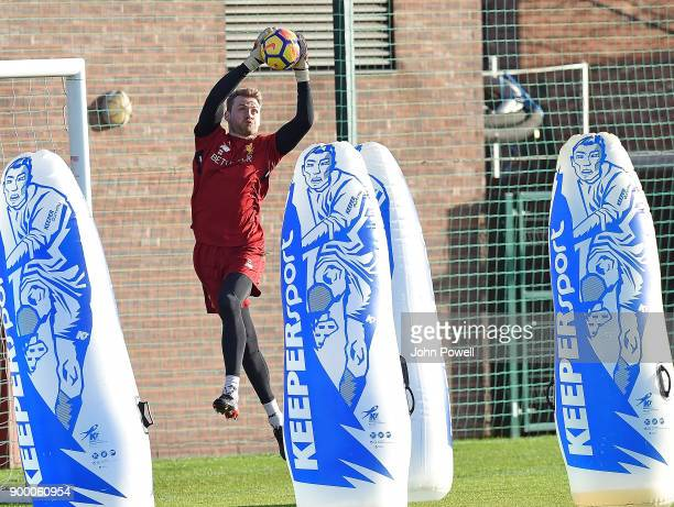 Simon Mignolet of Liverpool during a training session at Melwood Training Ground on December 31 2017 in Liverpool England