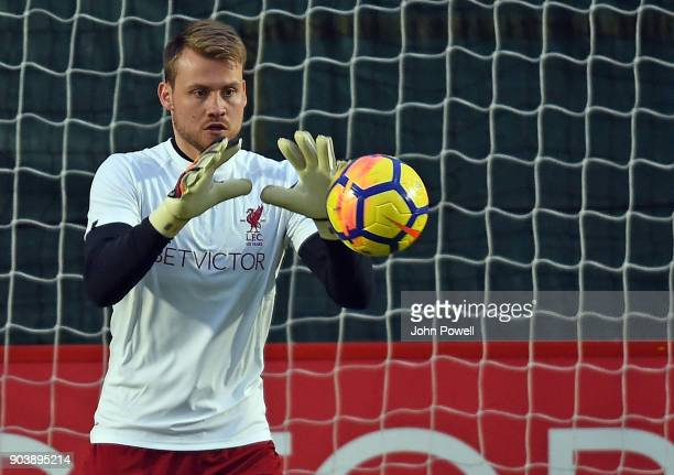 LIVERPOOL ENGLAND JANUARY 11 Simon Mignolet of Liverpool during a training session at Melwood Training Ground on January 11 2018 in Liverpool England