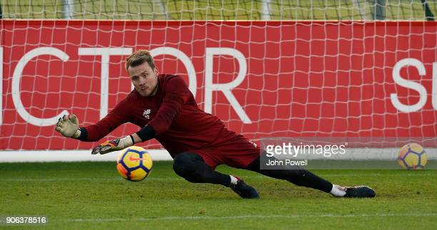 Simon Mignolet of Liverpool during a training session at Melwood Training Ground on January 18 2018 in Liverpool England
