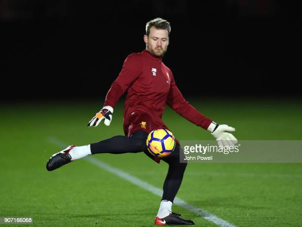 Simon Mignolet of Liverpool during a training session at Melwood Training Ground on January 19 2018 in Liverpool England