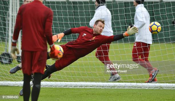Simon Mignolet of Liverpool during a training session at Melwood Training Ground on January 31 2018 in Liverpool England