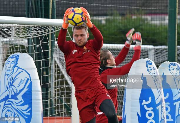 Simon Mignolet of Liverpool during a training session at Melwood Training Ground on February 9 2018 in Liverpool England