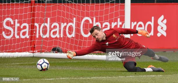 Simon Mignolet of Liverpool during a training session at Melwood Training Ground on March 29 2018 in Liverpool England