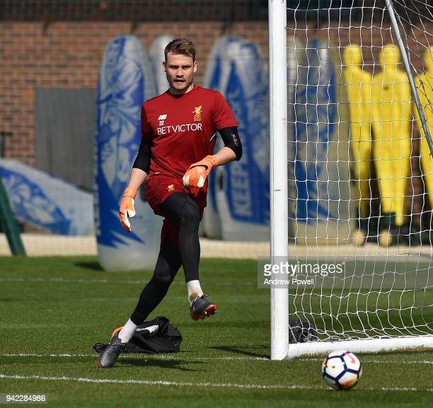 Simon Mignolet of Liverpool during a training session at Melwood Training Ground on April 5 2018 in Liverpool England