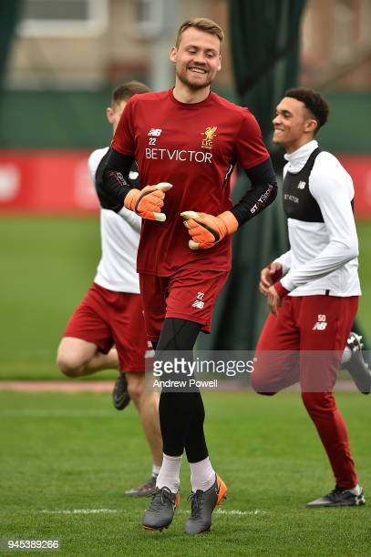 Simon Mignolet of Liverpool during a training session at Melwood Training Ground on April 12 2018 in Liverpool England