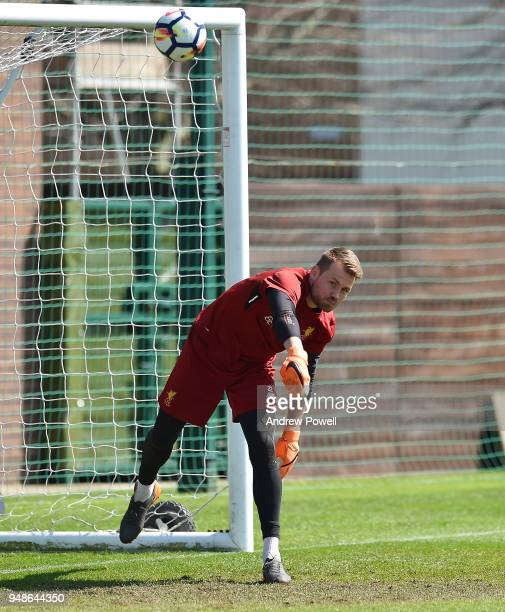 Simon Mignolet of Liverpool during a training session at Melwood Training Ground on April 19 2018 in Liverpool England