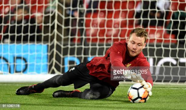 Simon Mignolet of Liverpool during his warmup routhine before The Emirates FA Cup Fourth Round match between Liverpool and West Bromwich Albion at...