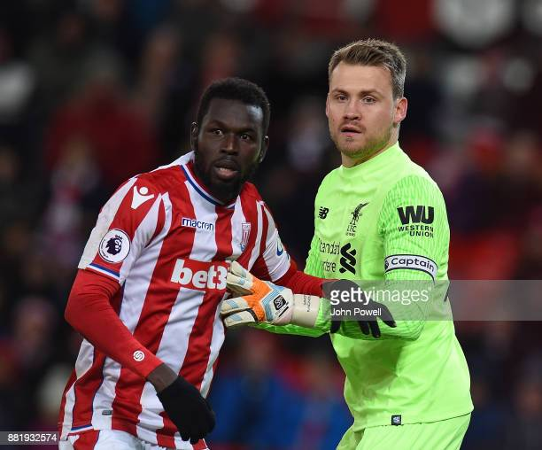 Simon Mignolet of Liverpool during the Premier League match between Stoke City and Liverpool at Bet365 Stadium on November 29 2017 in Stoke on Trent...