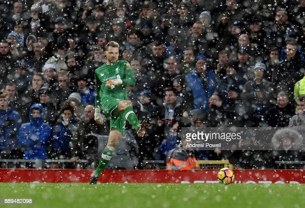 Simon Mignolet of Liverpool during the Premier League match between Liverpool and Everton at Anfield on December 10 2017 in Liverpool England