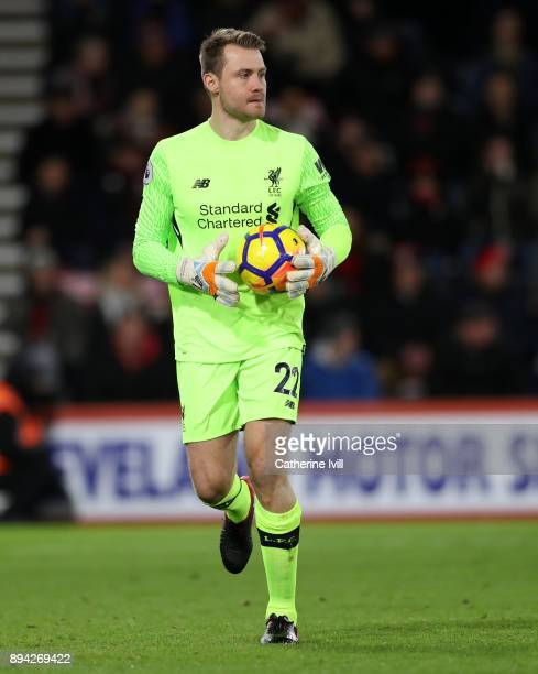 Simon Mignolet of Liverpool during the Premier League match between AFC Bournemouth and Liverpool at Vitality Stadium on December 17 2017 in...
