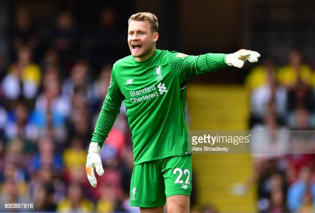 Simon Mignolet of Liverpool gestures during the during the Premier League match between Watford and Liverpool at Vicarage Road on August 12 2017 in...