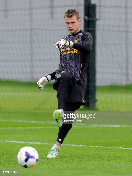 Simon Mignolet of Liverpool in action during a training session at Melwood Training Ground on July 2 2013 in Liverpool England
