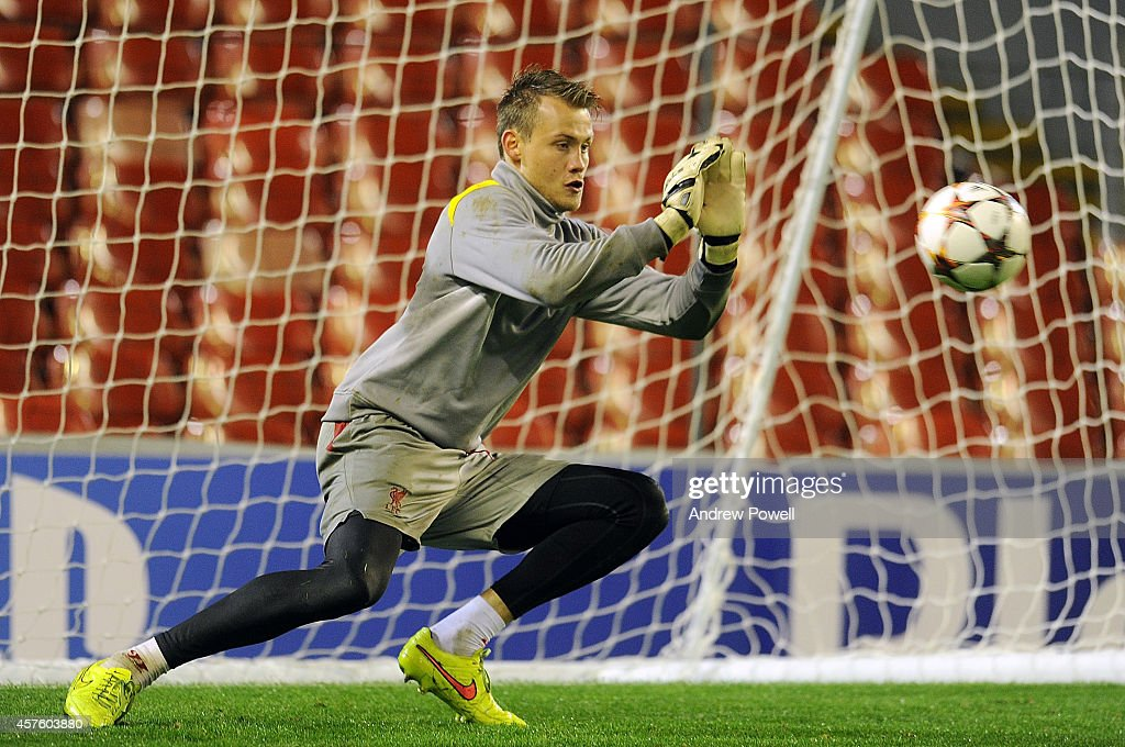 Simon Mignolet of Liverpool in action during a training session at Anfield on October 21, 2014 in Liverpool, United Kingdom.