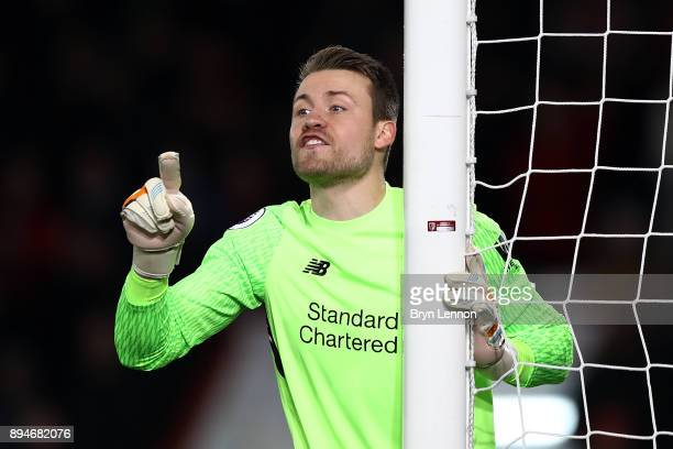 Simon Mignolet of Liverpool instructs his team during the Premier League match between AFC Bournemouth and Liverpool at Vitality Stadium on December...