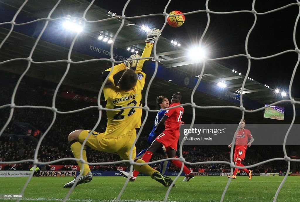 Simon Mignolet of Liverpool makes a save a shot by Shinji Okazaki of Leicester City during the Barclays Premier League match between Leicester City and Liverpool at The King Power Stadium on February 2, 2016 in Leicester, England.