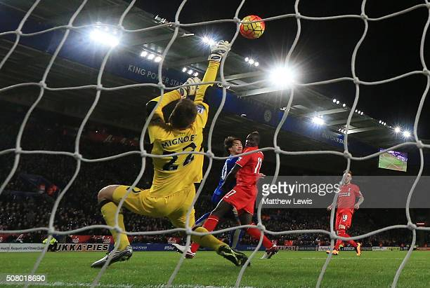 Simon Mignolet of Liverpool makes a save a shot by Shinji Okazaki of Leicester City during the Barclays Premier League match between Leicester City...