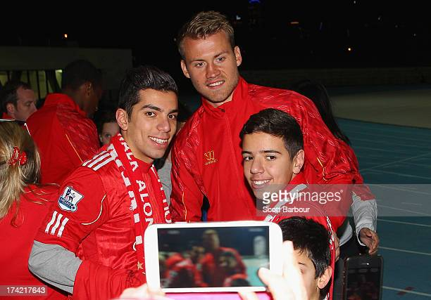 Simon Mignolet of Liverpool poses for a photo with supporters during a football clinic at Lakeside Stadium on July 22 2013 in Melbourne Australia