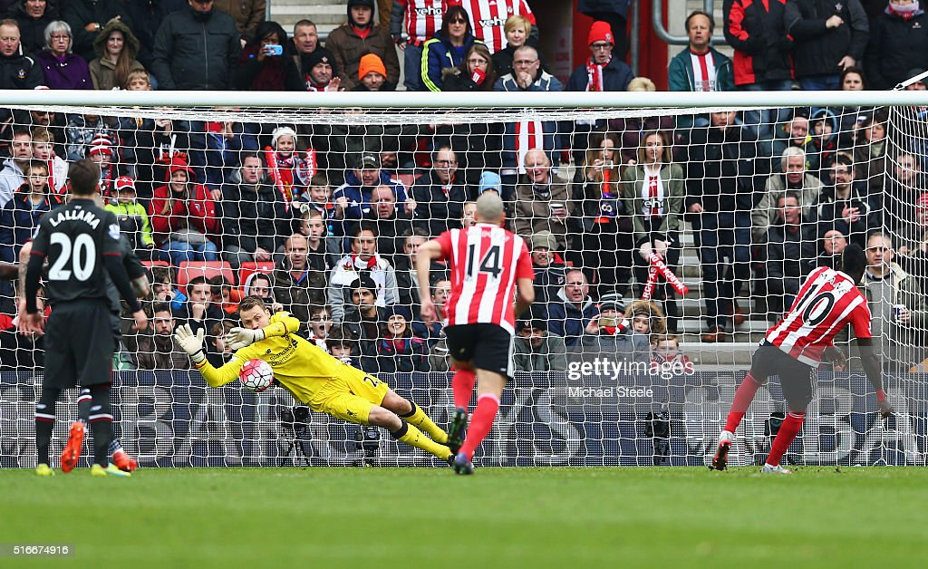 Simon Mignolet of Liverpool saves a penalty from Sadio Mane of Southampton (10) during the Barclays Premier League match between Southampton and Liverpool at St Mary's Stadium on March 20, 2016 in Southampton, United Kingdom.