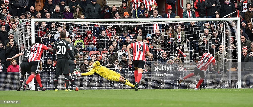 Simon Mignolet of Liverpool saves a penalty taken by Sadio Mane of Southampton during the Barclays Premier League match between Southampton and Liverpool at St Mary's Stadium on March 20, 2016 in Southampton, United Kingdom.