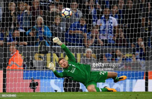 Simon Mignolet of Liverpool saves Jamie Vardy of Leicester City penalty during the Premier League match between Leicester City and Liverpool at The...