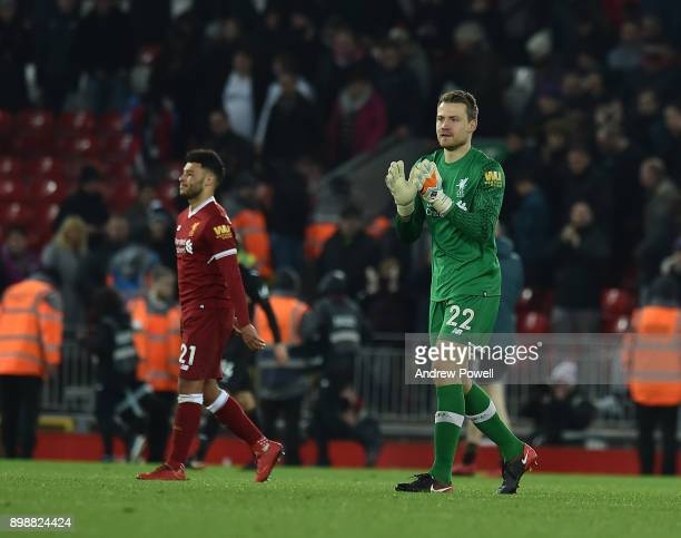 Simon Mignolet of Liverpool shows his appreciation to the fans at the end of the Premier League match between Liverpool and Swansea City at Anfield...