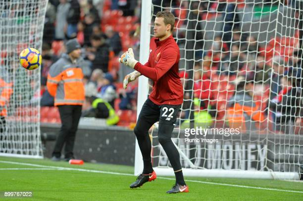 Simon Mignolet of Liverpool warms up at Anfield ahead of the Premier League match between Liverpool and Leicester City at Anfield on December 30th...