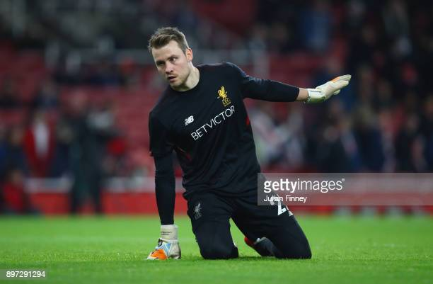 Simon Mignolet of Liverpool warms up prior to the Premier League match between Arsenal and Liverpool at Emirates Stadium on December 22 2017 in...