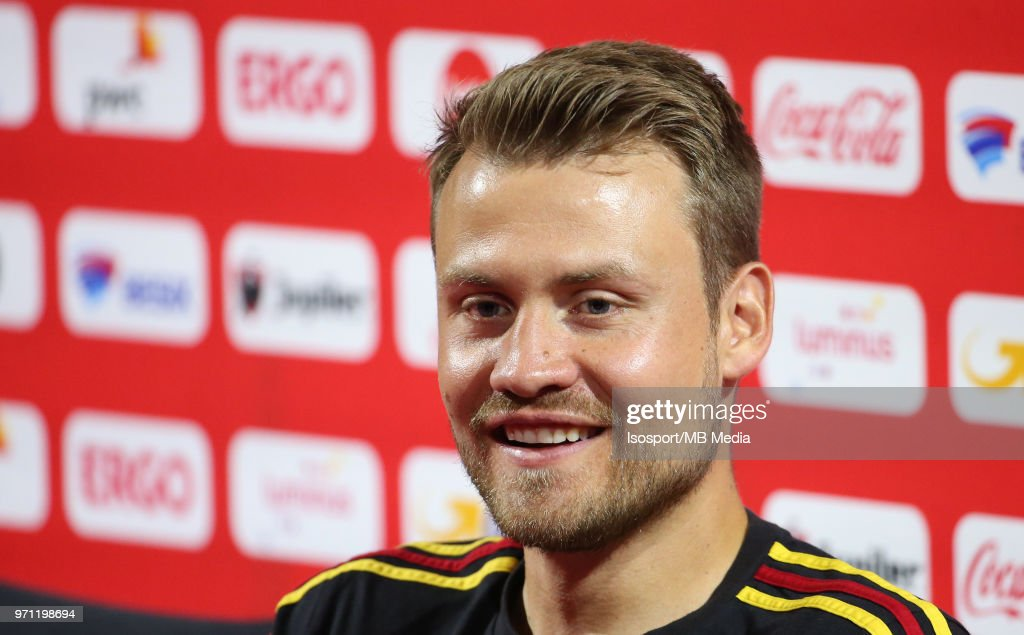 Simon MIGNOLET talks to the press after a training session of the Belgian national soccer team ' Red Devils ' at the Belgian National Football Center, as part of preparations for the 2018 FIFA World Cup in Russia, on June 4, 2018 in Tubize, Belgium. Photo by Vincent Van Doornick - Isosport