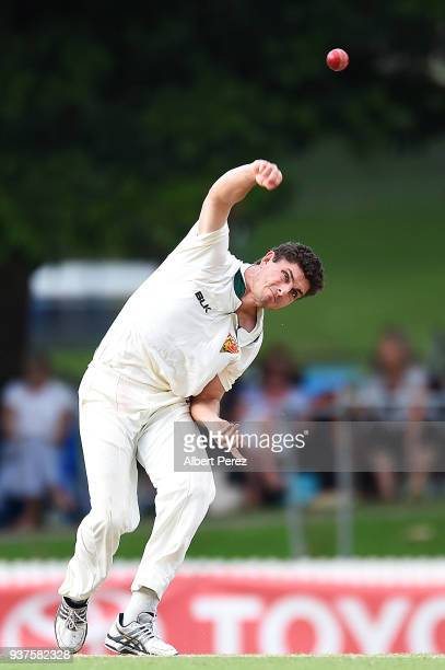 Simon Milenko of Tasmania bowls during day three of the Sheffield Shield Final match between Queensland and Tasmania at Allan Border Field on March...
