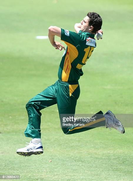Simon Milenko of Tasmania bowls during the Matador BBQs One Day Cup match between Tasmania and the Cricket Australia XI at Allan Border Field on...