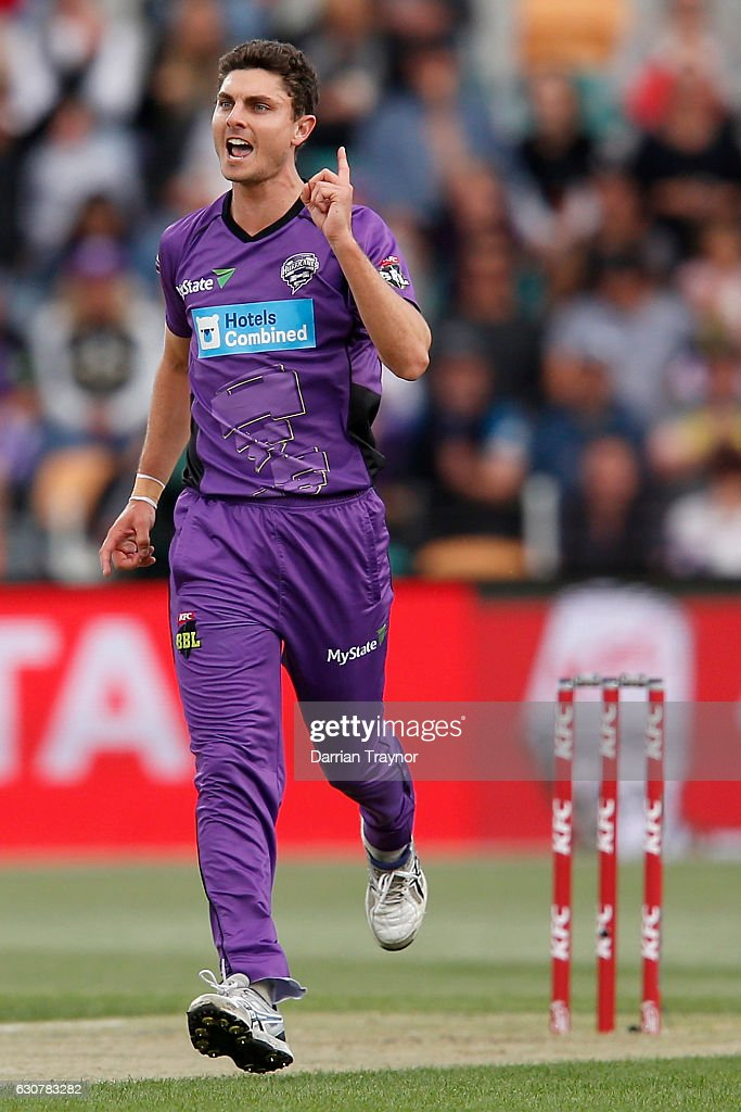 Simon Milenko of the Hobart Hurricanes celebrates taking the wicket of Ben Dunk of the Adelaide Stikers during the Big Bash League match between the Hobart Hurricanes and Adelaide Strikers at Blundstone Arena on January 2, 2017 in Hobart, Australia.