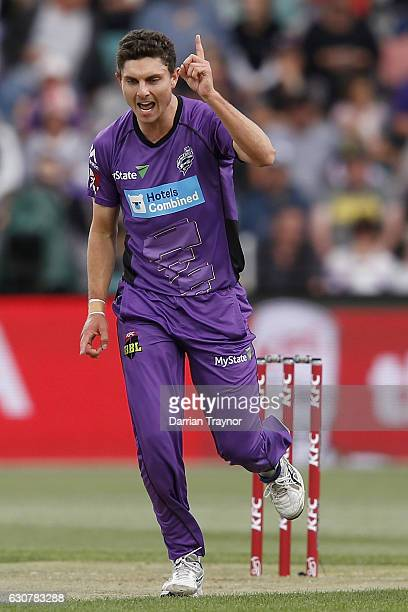 Simon Milenko of the Hobart Hurricanes celebrates taking the wicket of Ben Dunk of the Adelaide Stikers during the Big Bash League match between the...