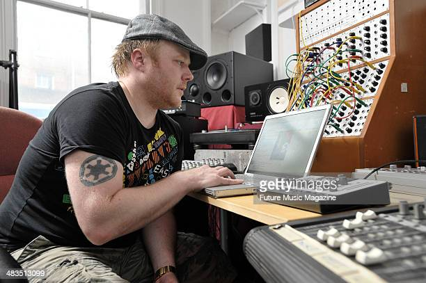 Simon Mills of British electronica band Bent photographed in his music studio, August 4, 2009.