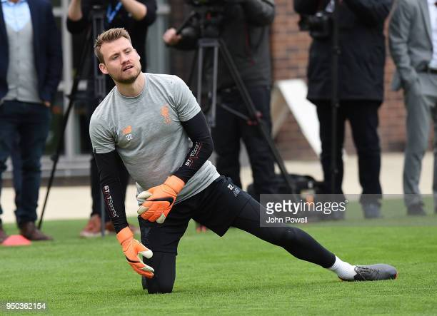 Simon Mingnolet of Liverpool during a training session at Melwood Training Ground on April 23 2018 in Liverpool England