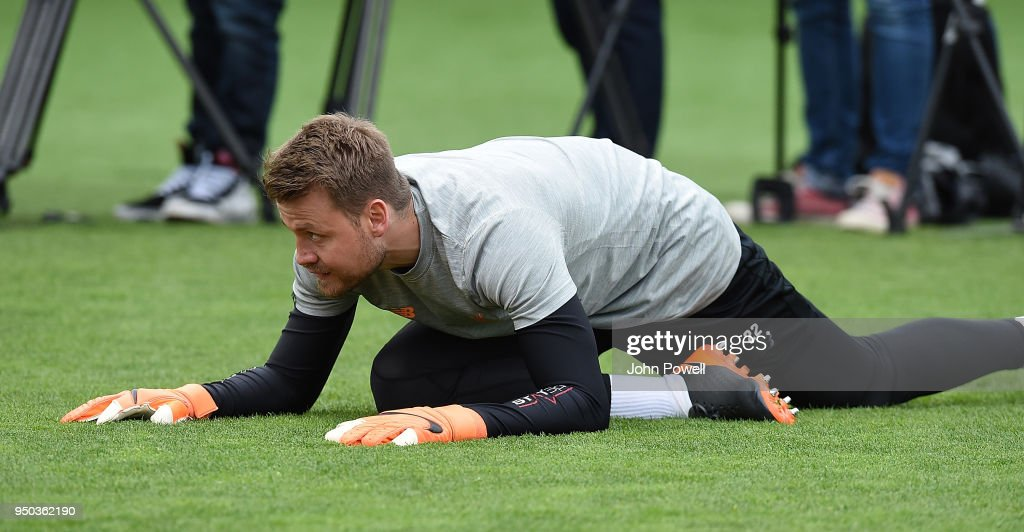 Simon Mingnolet of Liverpool during a training session at Melwood Training Ground on April 23, 2018 in Liverpool, England.
