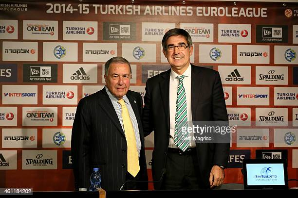 Simon Mizrahi president of Maccabi Electra Tel Aviv and Jordi Bertomeu CEO of Euroleague Basketball pose during a press conference before the game...