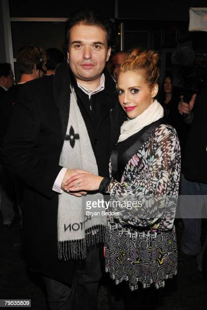 Simon Monjack and actress Brittany Murphy attend the Matthew Williamson Fall 2008 fashion show during MercedesBenz Fashion Week Fall 2008 at Lux...